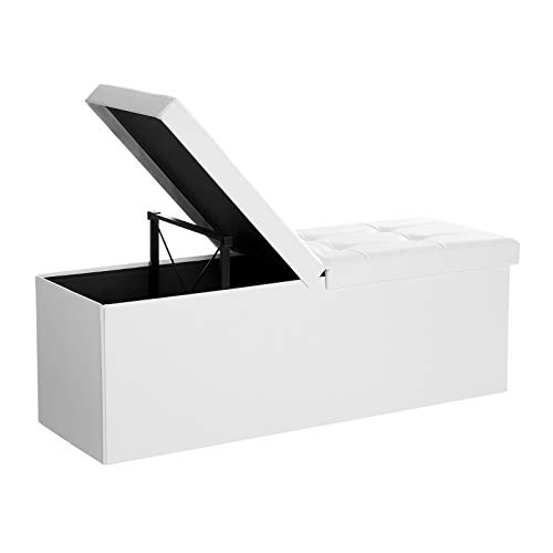 SONGMICS 43-Inch Large Folding Storage Ottoman Bench with Flip Lid, Padded Seat, White ULSF75WT