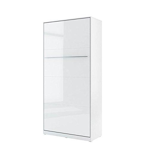 Mirjan24 Schrankbett Concept Pro I Vertical, Wandklappbett inkl. Lattenrost, Bettschrank, Wandbett, Schrank mit integriertem Klappbett, Funktionsbett, Farbauswahl, (90x200 cm, Weiß/Weiß Hochglanz)