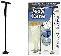 Ducomi Trusty Cane - Bastón de Paseo Plegable con Luz LED Orientable - Altura Regulable - Mango Ergonómico Provisto de Correa para la Muñeca - Abre y Pliega Fácilmente