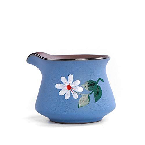 Ksnrang Gres cerámica Antigua famille Rose Taza de Feria Pintada a Mano Divisor de rima Antigua vajilla de té mar Juego de té de cerámica Taza de té Juego de té Taza Justa-Cielo Azul