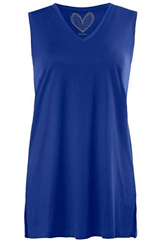 Ulla Popken Damen Feminines Top mit V-Neck T-Shirt, Türkis (Königsblau 72458475), 58-60