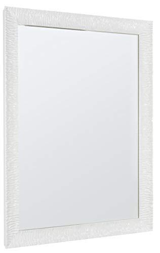 GaviaStore – Julie 90x70 cm - Specchio moderno da parete di altissima qualità - grande xxl arred casa art home decor soggiorno modern sala paret camera bagno ingresso (Bianco)