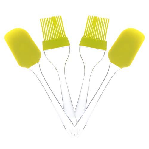 ABOOFAN 4 Pinceles de Silicona para Repostería Cepillo de Cocina Resistente Al Calor con Espátula para Esparcir Aceite Salsa de Mantequilla Adobos para Parrilla de Barbacoa Pasteles