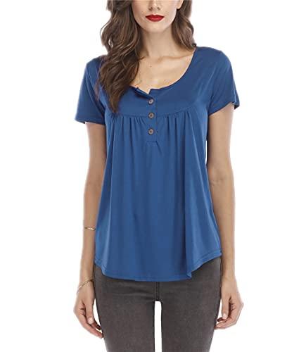 Blusa Mujer Suelta Color Sólido Botón Plisado Tapeta Mujer Camisa Generosa Casual Clásico Transpirable Elasticidad Colocación Simplicidad Única Verano Mujer Top D-Light Blue S