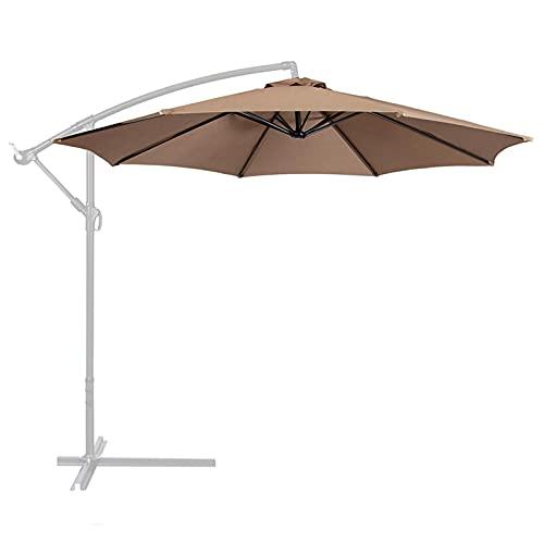 QOTSTEOS Toldo de repuesto para sombrilla de patio, 8 costillas, para patio, patio, patio, césped, jardín (Kaki, tamaño: 10 pies)