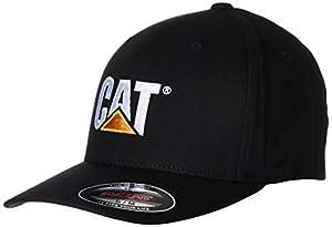 Caterpillar Mens Trademark Stretch Fit Cap, Black, Small/Medium