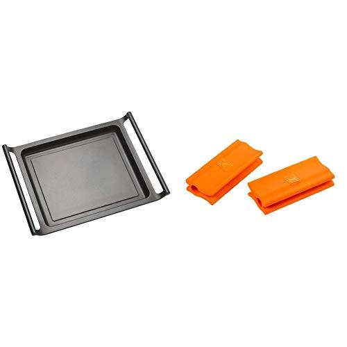 BRA Plancha Asar, Negro, 35 cm + Efficient Asas de Silicona,