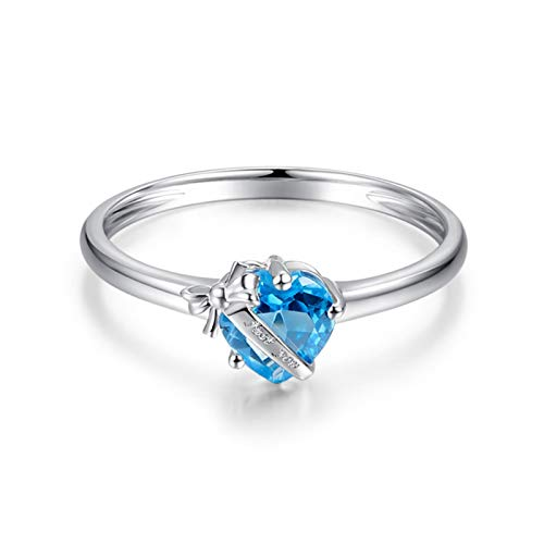 AYDOME Jewellery 9K Gold Ring, Eternity Band 0.89ct Blue Topaz Heart Valentines Day Girlfriend N 1/2