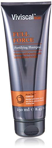 Viviscal Full-Force Men Shampooing fortifiant pour cheveux plus épais et plus longs, shampooing nettoyant et fortifiant mélangé avec kératine et biotine 250 ml