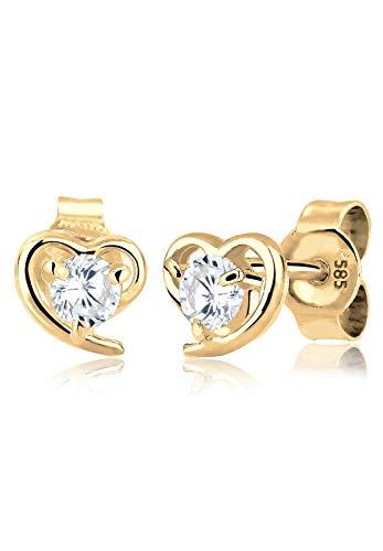Elli PREMIUM Ohrringe Damen Herz Liebe Freundschaft mit Zirkonia Kristalle in 585 Gelbgold