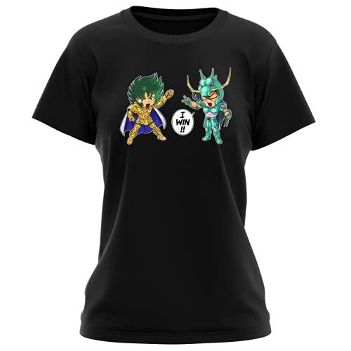Okiwoki T-Shirt Femme Noir Parodie Saint Seiya - Shiryu du Dragon et Shura Le Chevalier d'or du Capricorne - Traduction (T-Shirt de qualité Premium de Taille S - imprimé en France)