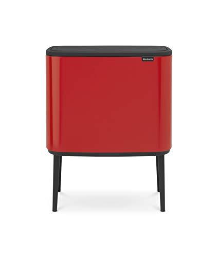 Brabantia Bo Touch Bin Cubo de Basura 11 + 23 litros, Rojo