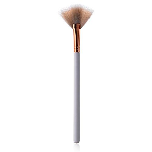 Demarkt 1 pcs Maquillage Brosse Fard à Joues Brosse Ventilateur Brosse en Bois Blanc poignée de Maquillage Outils de beauté(Blanc) 22 * 5 * 0.8cm