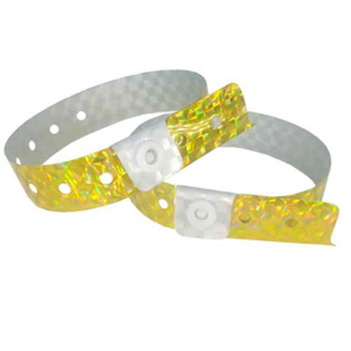 Set de 100 pulseras de plástico/vinilo para eventos, personalizables e impermeables (Holográfico amarillo)