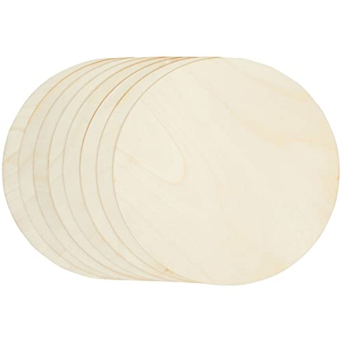 Juvale Unfinished Wood Round Circle Cutouts, 12 inch Wooden Discs for Crafts Projects (8 Pack)
