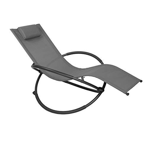 WOLTU Sonnenliege Gartenliege Schwingliege klappbare Relaxliege Liegestuhl, bis 160KG belastbar, atmungsaktiver Textilenbezug, für Garten und Terrasse, Grau, LS002gr