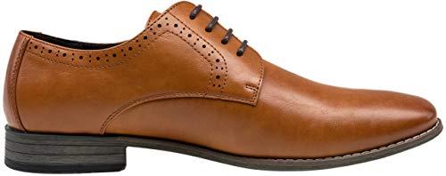 Jousen Men's Oxford Plain Toe Brown Dress Shoes Classic Formal Derby Shoes(5A093new Brown 14)