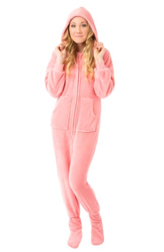 Big Feet Pjs Hoodie Footed Pink Plush Pajamas w/Drop Seat (M)