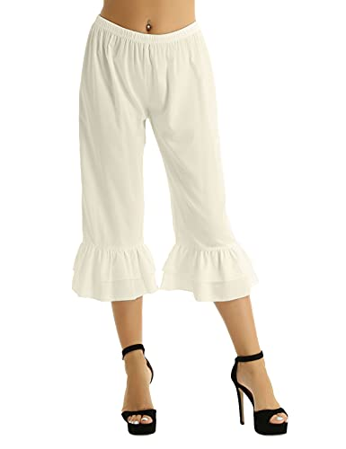 FEESHOW Victorian Lady Pantaloons Ruffle Bloomers Underpants Costume Fancy Dress Long Bloomers Beige Small