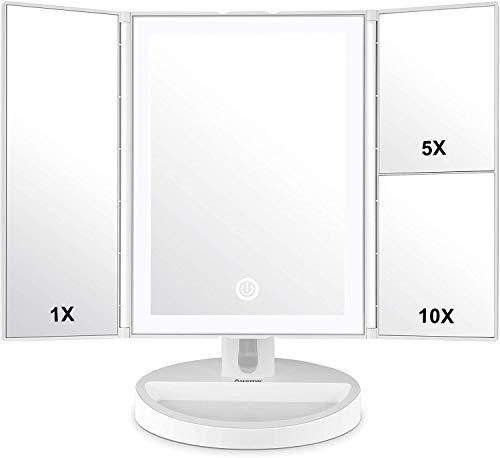 Auxmir Kosmetikspiegel LED, 3 Seiten Makeup Schminkspiegel Beleuchtet mit 1X 5X 10X, Stufenlos Einstellbarer Helligkeit und Touchscreen, Faltbarer Tischspiegel für Beauty Schminken und Rasieren