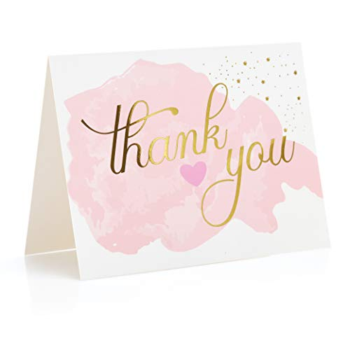 Rose Gold Thank You Cards (Set of 48)