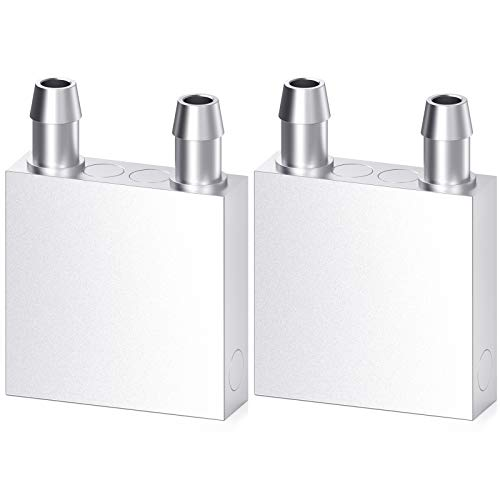 DIYhz Aluminum Water Cooling Block, Liquid Water Cooler Heat Sink System for PC Computer CPU Graphics Radiator Heatsink Endothermic Head Silver 2pcs(40mm x 40mm x 12mm)
