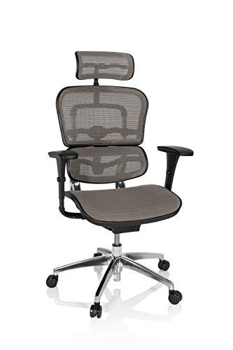 hjh OFFICE 652426 Profi Chefsessel ERGOHUMAN EDITION Netzstoff Grau Bürostuhl Drehstuhl ergonomisch mit Vollausstattung