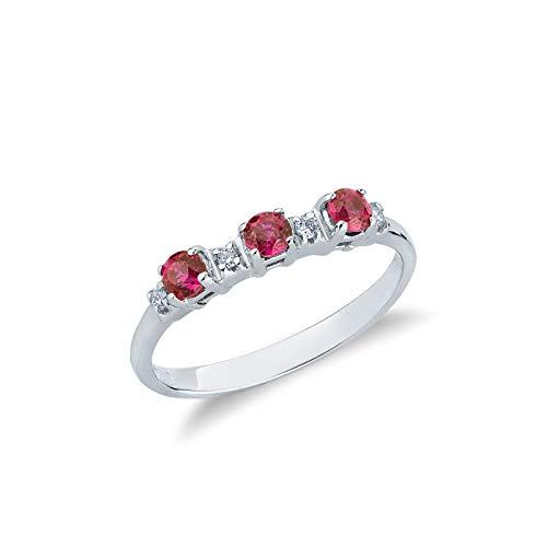 Anello trilogy in Oro Bianco 18k con rubini e diamanti - 17