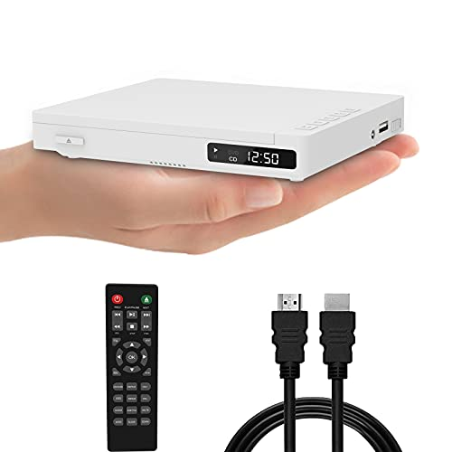 Mini DVD Player for TV with Built-in Speaker HD 1080P Upscaling Portable Palm-Size DVD CD Player All Region Free USB Input(White)