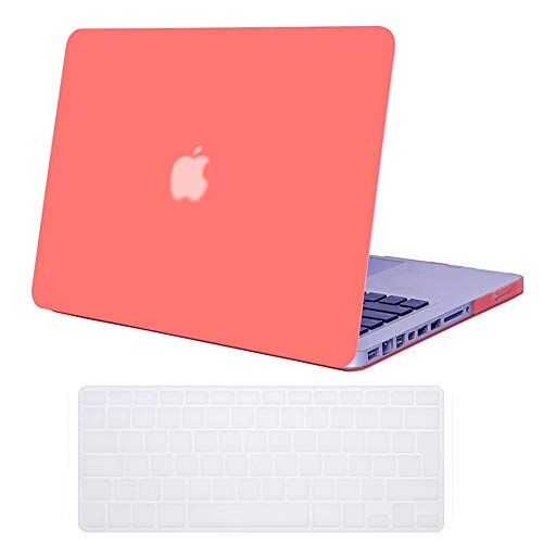 Se7enline Old MacBook Pro 13 inch Case 2012/2011/2010/2009 for MacBook Pro A1278 with CD ROM Drive Hard Laptop Cover with UK Layout Keyboard Cover,Living Coral