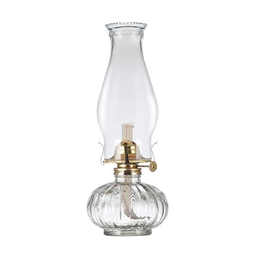 DNRVK Large Glass Kerosene Oil Lamp Lantern Vintage Oil Lamps for Indoor Use Decor Chamber Hurricane Lamp Home Lighting Clear Kerosene Lamp Lanterns