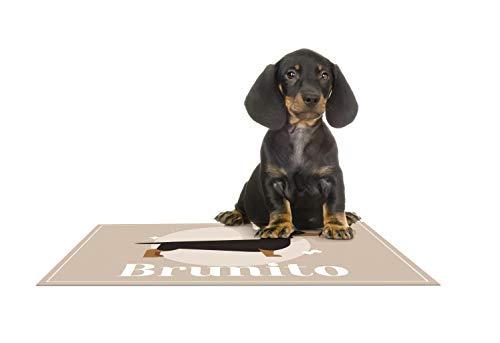 Deco&Fun - Alfombra vinílica para Mascotas B 70x50 Teckel - Tapete para Mascotas Personalizado -Alfombra Personalizada Mascota - Tapete para comedero - Tapete para Perros