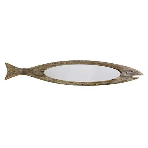 Rustic Wood Fish Mirror Decorative Hanging Mirror Wall Decor for Living Room Bathroom Bedroom Vintage Nautical Ocean Beach Home Mirror