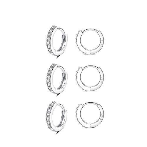 XLSFPY 3 Pairs Sterling Silver Small Hoop Earrings Tiny Cartilage Earring Cubic Zirconia Cuff Earrings Mini Hoops Earrings Ear Piercing for Women Girls
