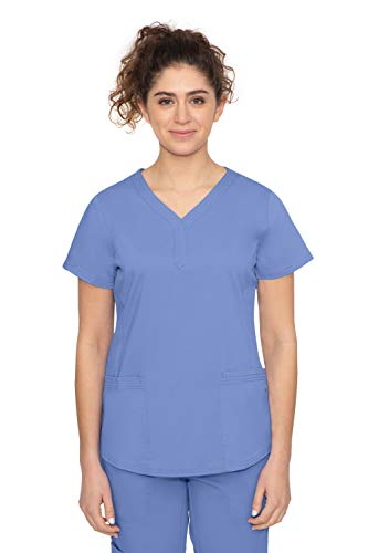 Purple Label by Healing Hands Scrubs Women's Jane V-neck 2 Pocket Top, Small - Ceil Blue