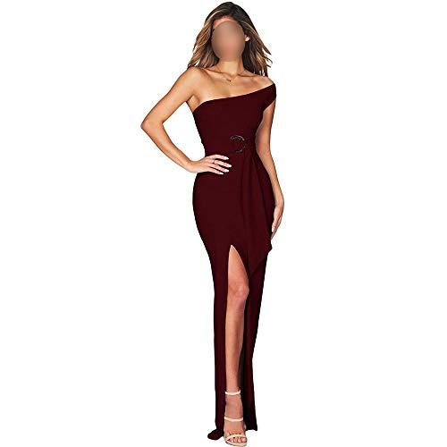 Mmamma Frauen-Kleider for Party Frauen sexy eine Schulter, figurbetontes Kleid lang Maxi-Kleid Frauen-Abend-Cocktailkleid (Farbe : Blau, Size : S)