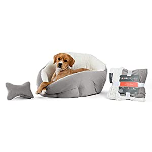 Best Friends by Sheri Bundle Set – OrthoComfort Deep Dish Cuddler Cat and Dog Bed, Throw Blanket and Plush Toy Bone, for Pets up to 35 lbs (Jumbo, Gray Ilan)