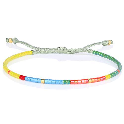 KELITCH Boho-farbe Kristall Shell Perlen Freundschaft Armbänder Handgemachte Strang Armband Armreifen Schmuck Für Sommer (Gelb)