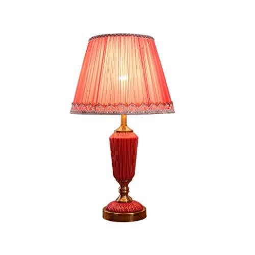 Lámpara de mesa Lámpara de mesa de cerámica clásica maravillosamente diseñada, lámpara de cabecera de la sala de estar del dormitorio del art déco rojo Lámpara Escritorio ( Color : Dimmer switch )