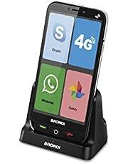 Brondi Amico Smartphone 4G Telefono Cellulare per Anziani GSM DUAL SIM con Tasti Grandi, Funzione SOS, Controllo Remoto, Volume Alto, Nero