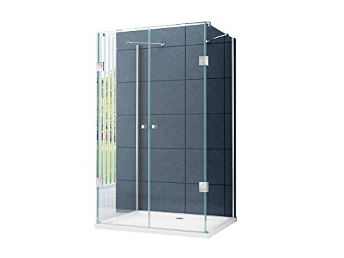 U Form Duschkabine Dusche Benito 90 x 75 x 180cm / 8 mm/ohne Duschtasse