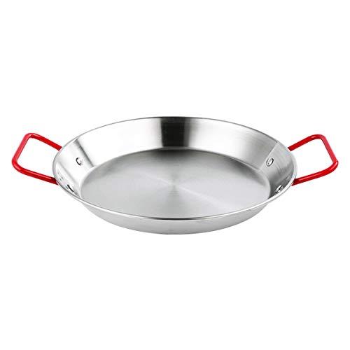 Poêle à Paella en Acier Inoxydable Anti-adhésif Plat à Paella 32 cm