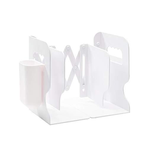 Lvjkes Sujetalibros Telescópicos, Sujetalibros Estanteria, Sujetalibros Ajustable con Caja para Bolígrafos, Plegado Creativo Estante para Libros para Escritorio, Oficina, Organizador en Casa (Blanco)