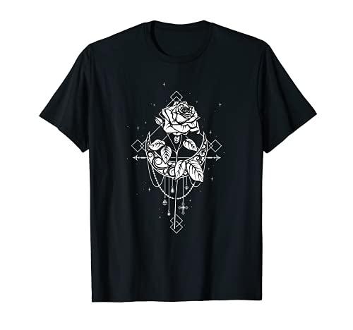 Oculta luna, rosa, gótica, bruja, Wicca Goth Camiseta