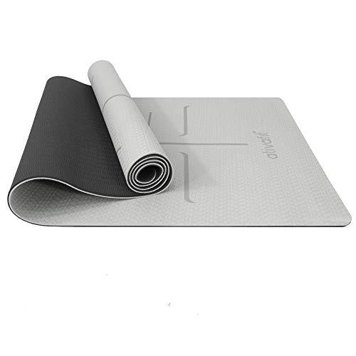 ATIVAFIT TPE Gymnastikmatte, rutschfeste Yogamatte Fitnessmatte Trainingsmatte Sportmatte für Fitness Pilates mit Tragegurt - Maße 183 * 59 * 0.6 cm