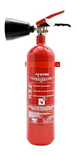 Feuerlöscher 2 kg CO2 Kohlendioxid EDV geeignet, EN 3 inkl. ANDRIS® Prüfnachweis mit Jahresmarke & ANDRIS® ISO-Symbolschild Folie