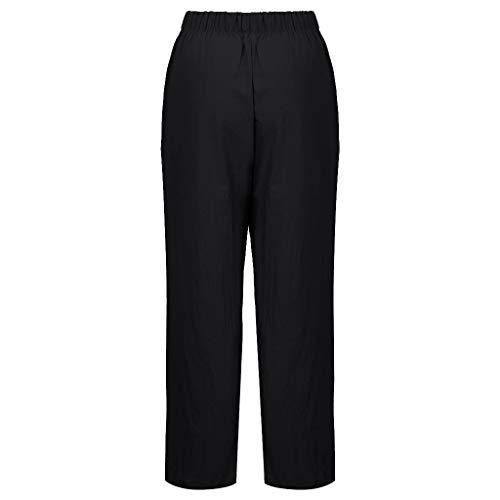 Akabsh – Pantalones Sueltos de algodón y Lino para Mujer con Bolsillos, Negro, Mediano