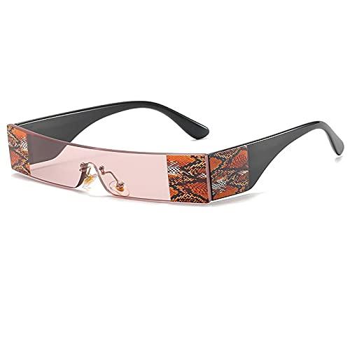 Gafas De Sol Gafas De Sol Sin Montura De Moda para Mujer, Gafas De Sol Pequeñas Y Coloridas Vintage para Mujer, Hombre, Parte Superior Plana, Negro, Rojo, Gafas Rectangulares Únicas C5Pink
