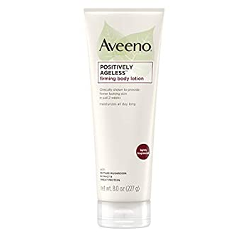 Aveeno Positively Ageless Anti-Aging Firming Body Lotion with Shiitake Mushroom complex & Wheat Protein Lightweight & Non-Greasy Daily Moisturizing Lotion to help Improve Skin Elasticity & Texture 8 oz  Pack of 3