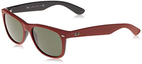 Ray-Ban New Wayfarer Gafas, Parte Superior de Goma Rojo Sobre Negro Brillante Y Verde, 58 Unisex Adulto